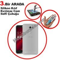 Teknomeg Asus Zenfone 2 Laser Ze500Kl Şeffaf Silikon Kılıf + Temperli + Selfie