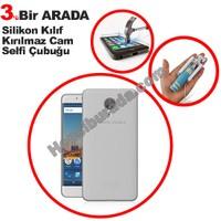 Teknomeg General Mobile Android One Gm5 Plus Şeffaf Silikon Kılıf + Temperli + Selfie