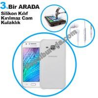 Teknomeg Samsung Galaxy J2 Şeffaf Silikon Kılıf + Temperli Kırılmaz Cam + Kulaklık