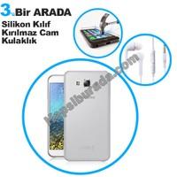 Teknomeg Samsung Galaxy E7 Şeffaf Silikon Kılıf + Temperli Kırılmaz Cam + Kulaklık