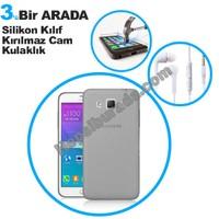 Teknomeg Samsung Galaxy Grand Max Füme Silikon Kılıf + Temperli Kırılmaz Cam + Kulaklık