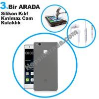 Teknomeg Huawei P9 Lite Füme Silikon Kılıf + Temperli Kırılmaz Cam + Kulaklık