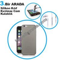 Teknomeg Apple İphone 6 Füme Silikon Kılıf + Temperli Kırılmaz Cam + Kulaklık