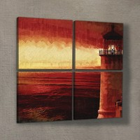 Artikel Red Lighthouse 4 Parça Kanvas Tablo 70X70 Cm