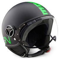 Momo Design Fgtr Mat Siyah, Fluo Yeşil Logo, Medium Kask
