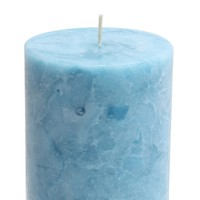 Marble Silindir Mum Mavi Renk 7,5x19 Cm