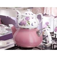 Biev Lia Emaye Porselen Çaydanlık Takımı