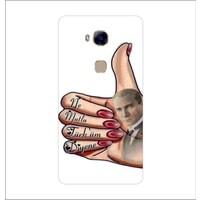 Bordo Huawei G8 Kapak Kılıf Atatürk Baskılı Silikon