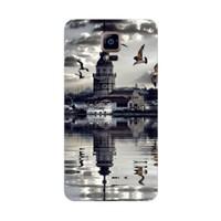 Bordo Samsung Galaxy Note 4 Kapak Kılıf Kız Kulesi Baskılı Silikon