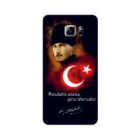 Bordo Samsung Galaxy Note 5 Kapak Kılıf Türk Bayrağı Baskılı Silikon