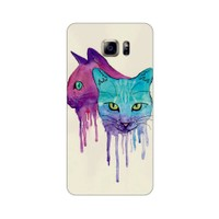 Bordo Samsung Galaxy Note 5 Kapak Kılıf Renkli Kedi Baskılı Silikon
