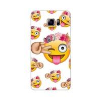 Bordo Samsung Galaxy Note 5 Kapak Kılıf Emoji Baskılı Silikon