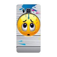 Bordo Samsung Galaxy Alpha Kapak Kılıf Emoji Baskılı Silikon