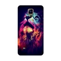 Bordo Samsung Galaxy S5 Kapak Kılıf Renkli Kaplan Baskılı Silikon