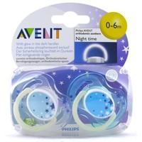 Philips Avent Ortodontik 2'Li Gece Emziği Mavi