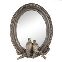 Kuşlu Antik Bronz Küçük Ayna