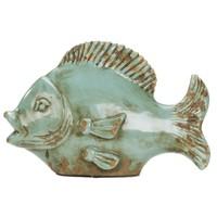 Dekoratif Eskitme Buz Mavisi Büyük Seramik Balık