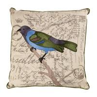 Yeşil-Lila Kuş Nakışlı Keten Kare Yastık