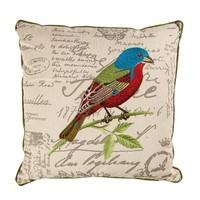 Kırmızı-Mavi Kuş Nakışlı Keten Kare Yastık