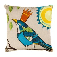 Mavi Kuş İşlemeli Keten Yastık