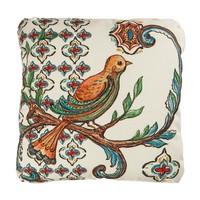 Turuncu Kuş Figürlü Canvas Kare Yastık
