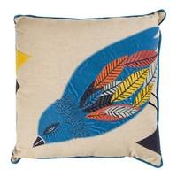Kuş Desenli Kadife Aplikeli Keten Yastık