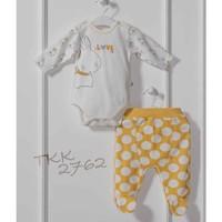 Caramell TKK2762 Sarı Puan Body-Pantolon Bebek Takım