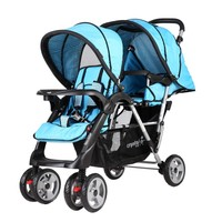 Crystal Baby 234 Armoni İkiz Bebek Arabası Mavi