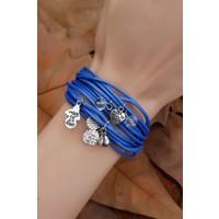 Yeni Trend Mavi Çoklu Deri Tasarımlı Bayan Bileklik Modeli