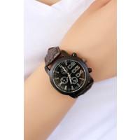 Clariss Marka Kahverengi Simli Çatlak Deri Tasarımlı Bayan Saat