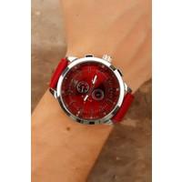 Kırmızı Deri Kordon Tasarımlı Gümüş Kaplama Metal Kasalı Erkek Saat Modeli