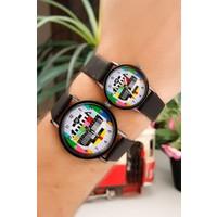Siyah Deri Kordon Tasarımlı İç Detayı Renkli Sevgili Saati