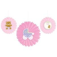 KullanAtMarket Pembe Bebek Ayıcık Yelpaze Süs Seti 3 Adet