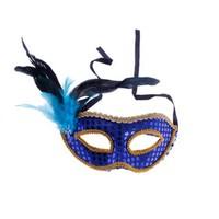 KullanAtMarket Mavi Tüy Payetli Balo Maskesi 1 Adet
