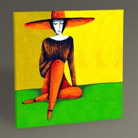 Tablo360 Şapkalı Kadın Tablo 30 x 30