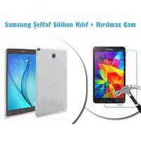 Toptancı Kapında Samsung Galaxy Tab T550 Kırılmaz Cam + Şeffaf Kılıf