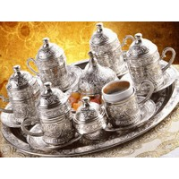 Toptancı Kapında Osmanlı Motifli 6 Kişilik Türk Kahve Seti ( 3 Renk )