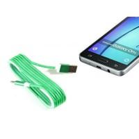 Toptancı Kapında Android Örgü Şeklinde Renkli Çelik Şarj Data Kablosu - Yeşil