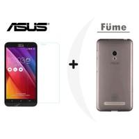 Toptancı Kapında Asus Zenfone 2 Mini Füme Şeffaf Silikon Kılıf + Kırılmaz Cam