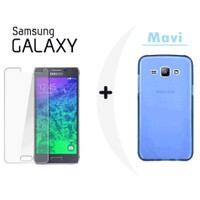 Toptancı Kapında Samsung Grand Max Mavi Şeffaf Silikon Kılıf + Kırılmaz Cam