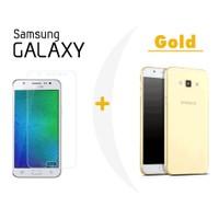 Toptancı Kapında Samsung J1 Gold Şeffaf Silikon Kılıf + Kırılmaz Cam