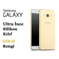 Toptancı Kapında Samsung J7-2016 Gold Şeffaf İnce Silikon Kılıf