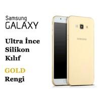 Toptancı Kapında Samsung On5 Gold Şeffaf İnce Silikon Kılıf
