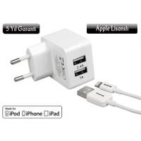 Awetron ( 5 Yıl Garantili ! ) iPhone 5 – 6- 6S - Plus- iPad Orijinal Apple MFI lisanslı Awe-102 Şarj Aleti: (2,4A+1A=3,4 A Dual USB - Hızlı Şarj Cihazı)