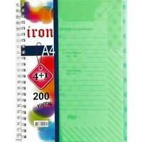 Alfa A 4 Iron 5 (4+1) Seperatörlü Spiralli Kapak Defter 200 Yaprak