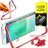 CoverZone Samsung Galaxy Note 7 Kılıf Metalize Silikon Kırmızı + + 3d Araç Kokusu