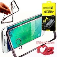 CoverZone Samsung Galaxy Note 7 Kılıf Metalize Silikon Koyu Gri + + 3d Araç Kokusu