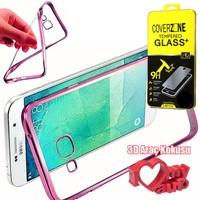 CoverZone Samsung Galaxy Note 7 Kılıf Metalize Silikon Pembe + + 3d Araç Kokusu