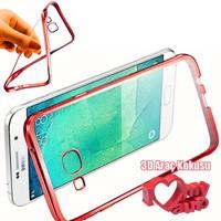 CoverZone Samsung Galaxy Note 7 Kılıf Metalize Silikon Kırmızı + 3d Araç Kokusu