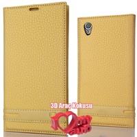 CoverZone Sony X Performance Kılıf Elite Deri Gold + 3d Araç Kokusu